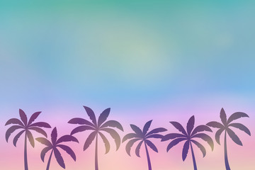 Silhouette of palm trees on colourful sky - summer background with copyspace. Vector.