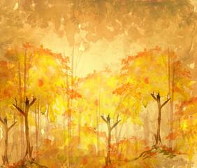 Watercolor illustration, dark, dense forest.  Seasons. Summer, autumn landscape. Abstract spots of yellow, orange, monochrome. Park, forest, grove, trees.  Watercolor postcard, invitation.