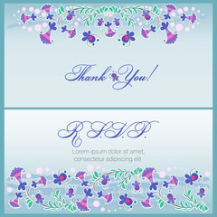 Thank you! RSVP. Set. Wedding cards floral design. Rsvp, thank you, label set. Decorative flower arrangement. Vector elegant wedding template.