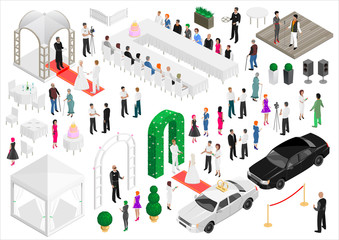 Isometry scheme of a wedding party. Vector graphics. A set of elements and people.