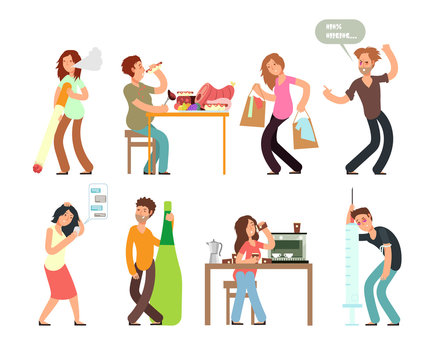 Bad habits unhealthy lifestyle. Alcoholism, drug addiction, smoking, gambling. Vector people set