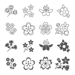 Spring blossom flowers line and silhouette icons set