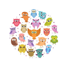 Cute owls round banner. Cartoon funny forest birds set