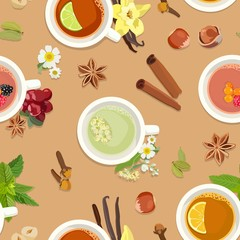 Seamless pattern with tea cups and delicious additives to tea. Vector illustration.