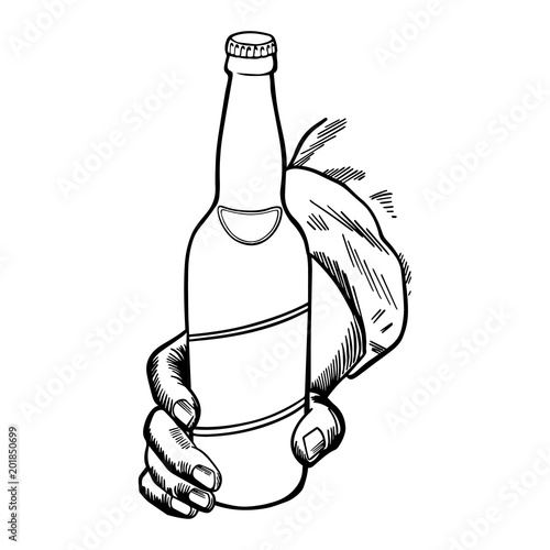 Craft Beer Bottle Held By A Hand Hand Made Drawing For Menus