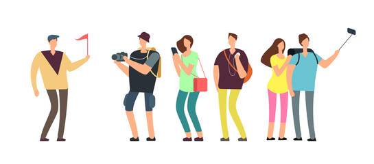 Tourists with guide on travel tour. Travelling people with family on vacation vector concept Fotobehang
