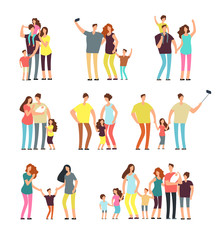 Happy family groups. Adult parents couple playing with kids vector cartoon people isolated