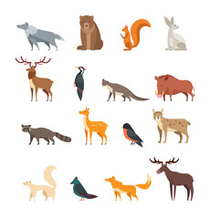 Forest wild animals and birds cartoon vector set isolated. Flat deer, bear, rabbit, squirrel, wolf, fox, raccoon, owl