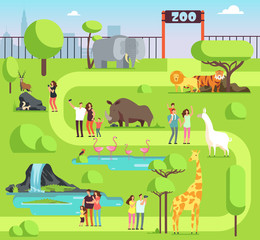 Cartoon zoo with visitors and safari animals. Happy families with kids in zoological park vector illustration