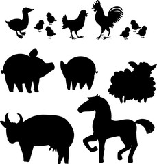 Set of black silhouettes of different cartoon farm animals on white background