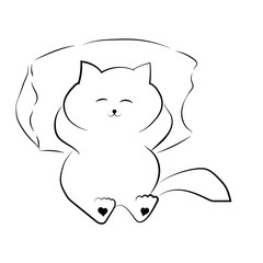 vector black outline drawing cute fat cat lying on the pillow