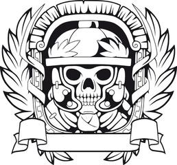 emblem of a legionary, black and white illustration