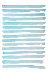 Different stripes like sea waves painted in watercolor on a white background