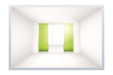 Example of an empty room with white walls and a window. Simple interior without furnish and furniture. Curtains are unfolded. Sunlight falls through the curtains. Imitation of three-dimensional space