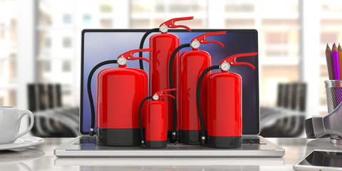 Fire extinguisher on computer, blur office background. 3d illustration