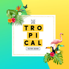 Colourful summer tropical border design with  palm leaves, toucan and flamingo birds and Hibiscus flowers. Vector illustration