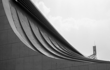 Minimalist Architecture with curves and sky