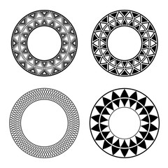 Set of black and white round frames with geometric pattern. Vector element for invitations, cards and your design