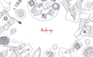Monochrome banner template with table full of Japanese food and hands holding sushi, sashimi and rolls with chopsticks hand drawn with contour lines on white background. Realistic vector illustration.