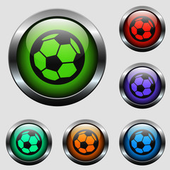 football vector icon on color glass buttons