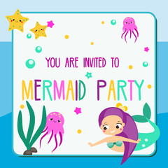 Summer mermaid party flyer. Children holiday party invitation design template