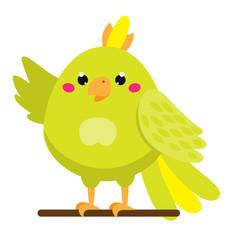 Cute parrot. Cartoon african and tropical animal. Kawaii style