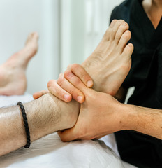 Patient being treated in a chiropractic clinic