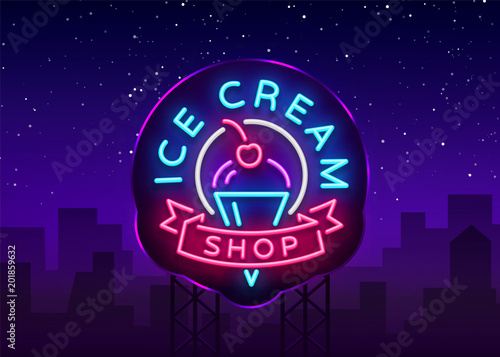 ice cream shop neon sign ice cream shop logo in neon style symbol