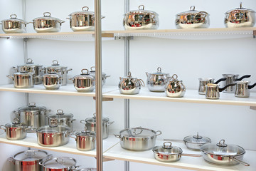Stainless steel pans for cooking in store