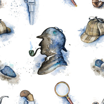 Seamless vintage pattern with hat, smoking pipe, pistol, footprint and silhouette of Sherlock Holmes on white background. Watercolor hand drawn illustration