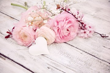 Grußkarte - Frühlingsblumen - Blumenstrauß rosa nostalgisch