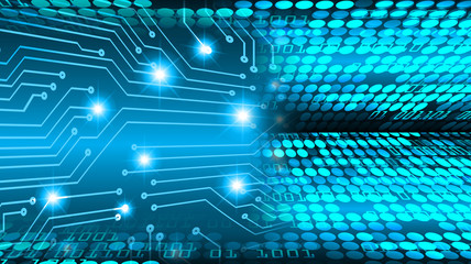 binary circuit board future technology, blue eye cyber security concept background, abstract hi speed digital internet.motion move blur.