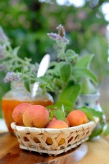 Basket with apricots and apricot jam