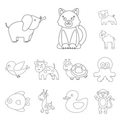 An unrealistic outline animal icons in set collection for design. Toy animals vector symbol stock web illustration.