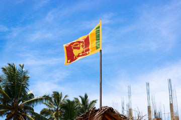 The national flag of Sri Lanka country with lion are swaying. Blue sky and palms.