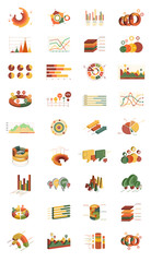 Vector set of isometric infographic elements. Different types of graphs and diagrams. Modern 3D style. Design for business presentations