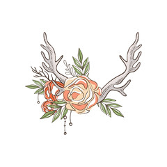 Deer horns and roses, hand drawn floral composition with antlers vector Illustration on a white background