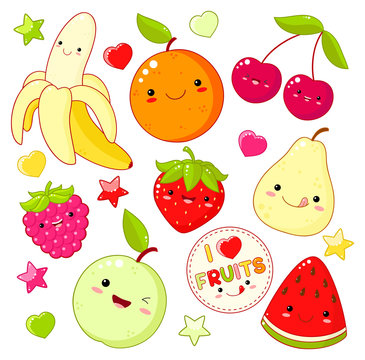 Set of cute sweet fruit icons in kawaii style