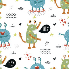 Funny monsters seamless pattern with lettering. Color kids vector illustration in scandinavian style
