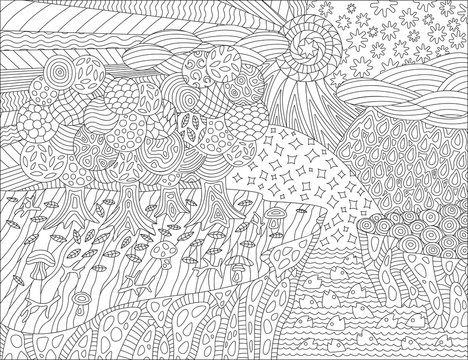 Black and white picture for coloring book with beautiful landscape and seasons