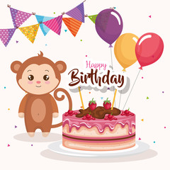 happy birthday card with monkey vector illustration design