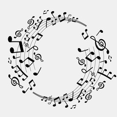 vector abstract background of musical notes, white and black