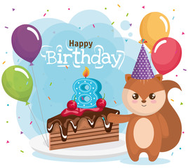 happy birthday card with chipmunk vector illustration design