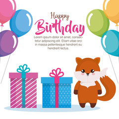 happy birthday card with fox vector illustration design