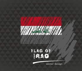 Flag of Iraq, vector pen illustration on black background