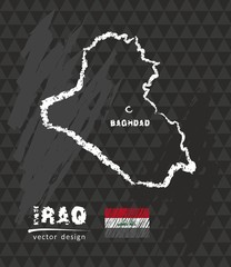 Map of Iraq, Chalk sketch vector illustration