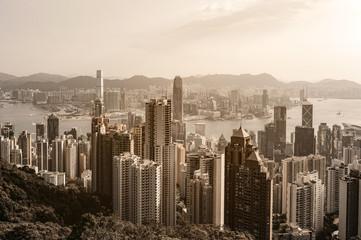 Hong Kong city view at sunrise from Victoria Peak
