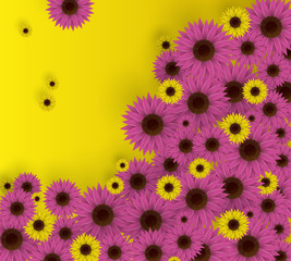 Vector illustration of flowers. 3D Fuchsia and yellow floral background. Spring print.