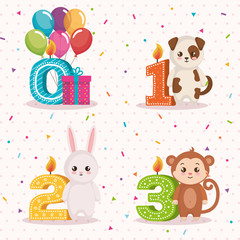 happy birthday card with group of animals vector illustration design