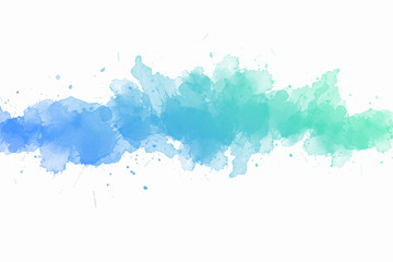 Abstract blue-green watercolor on white-gray background
